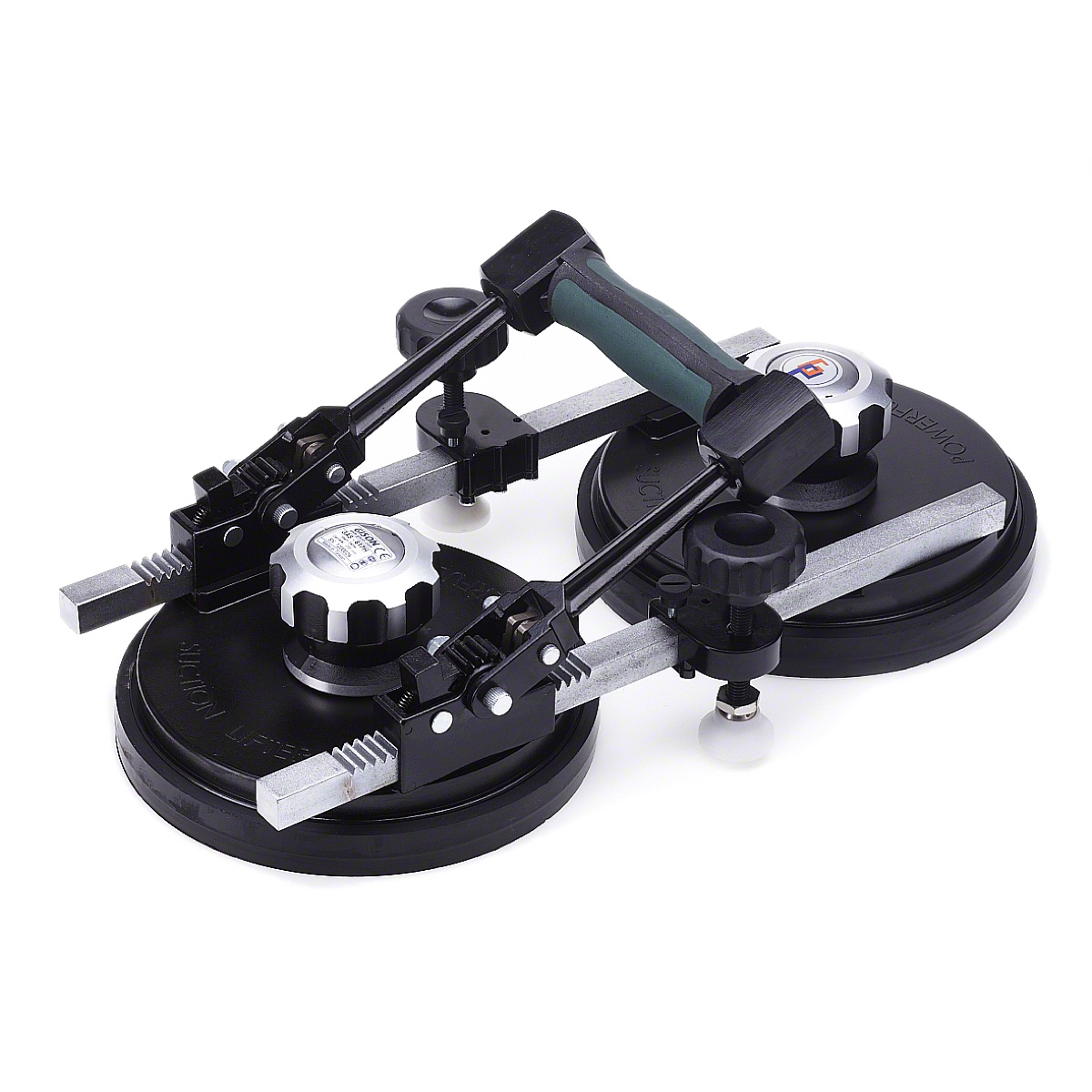 Seam setter and joint leveller with dual dials, two suction cups and single handle